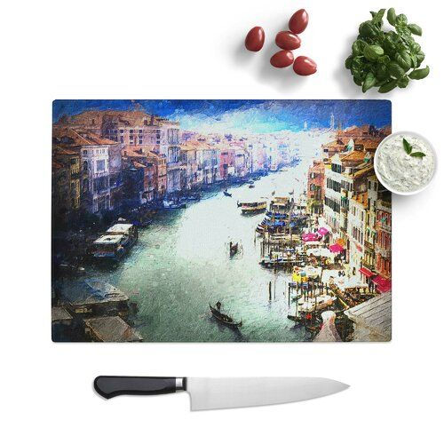 Photo of Cutting board Grand Canal in Venice Italy made of tempered glass East Urban Home Size: 28.5 cm W x 20 cm L