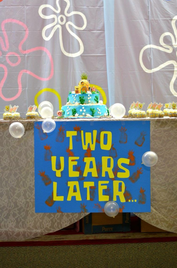 Handmade Two Years Later Sign For A Spongebob Party Spongebob