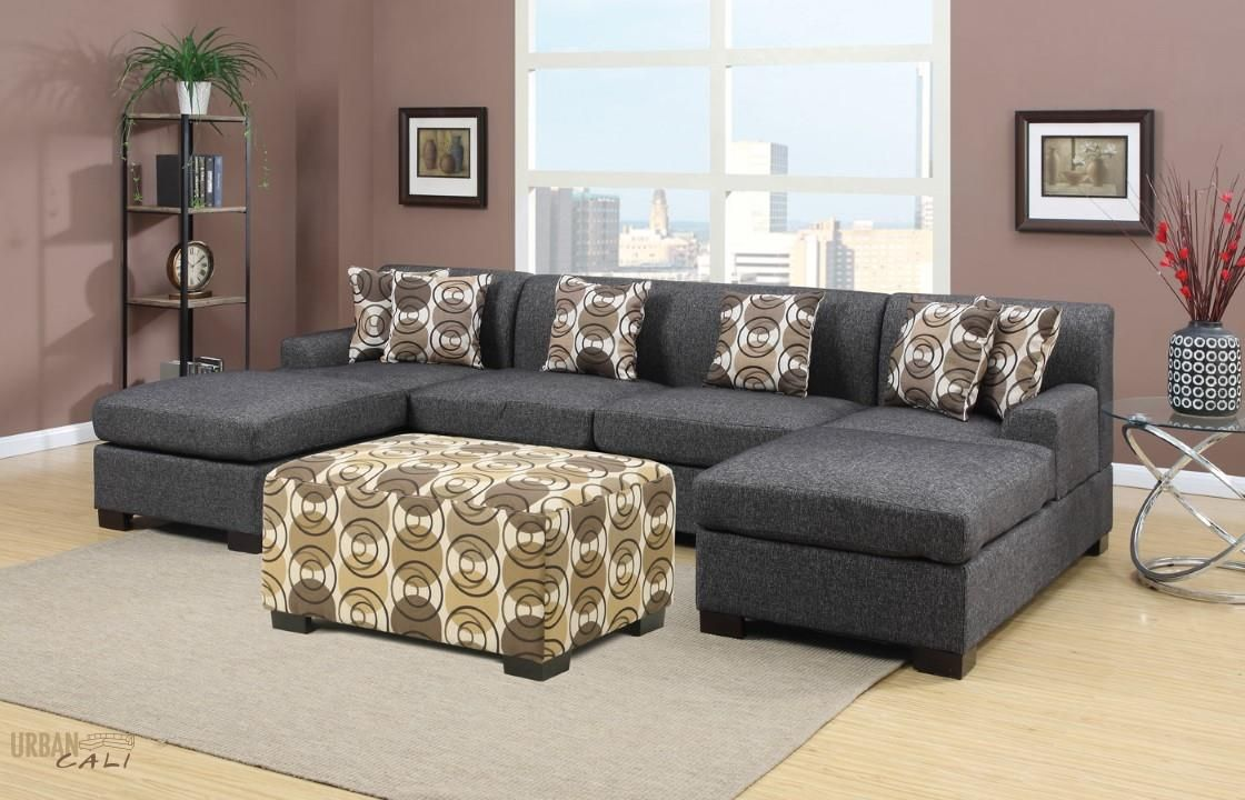 Hayward Ash Black Small U Shaped Sectional Sofa Set Urban Cali