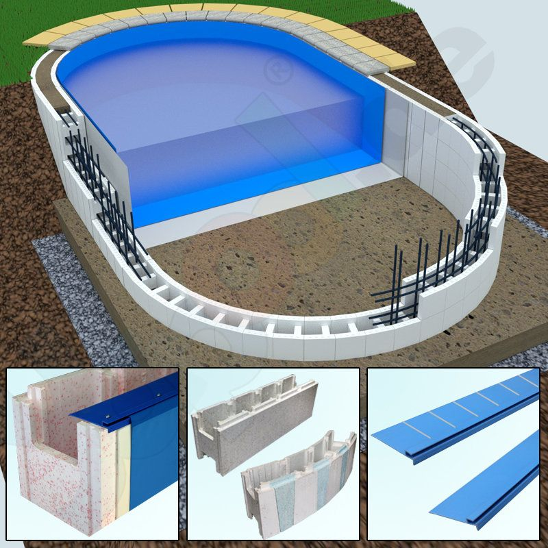 Photo of Swimming pool consisting of polystyrene stones, hanging strips, inner cover, fleece …