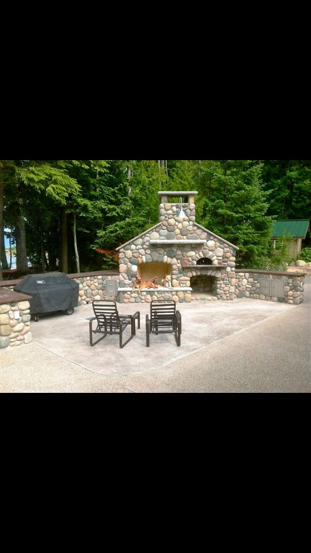Outdoor Fireplace Pizza Oven Herrema Stone Masonry Traverse City Mi