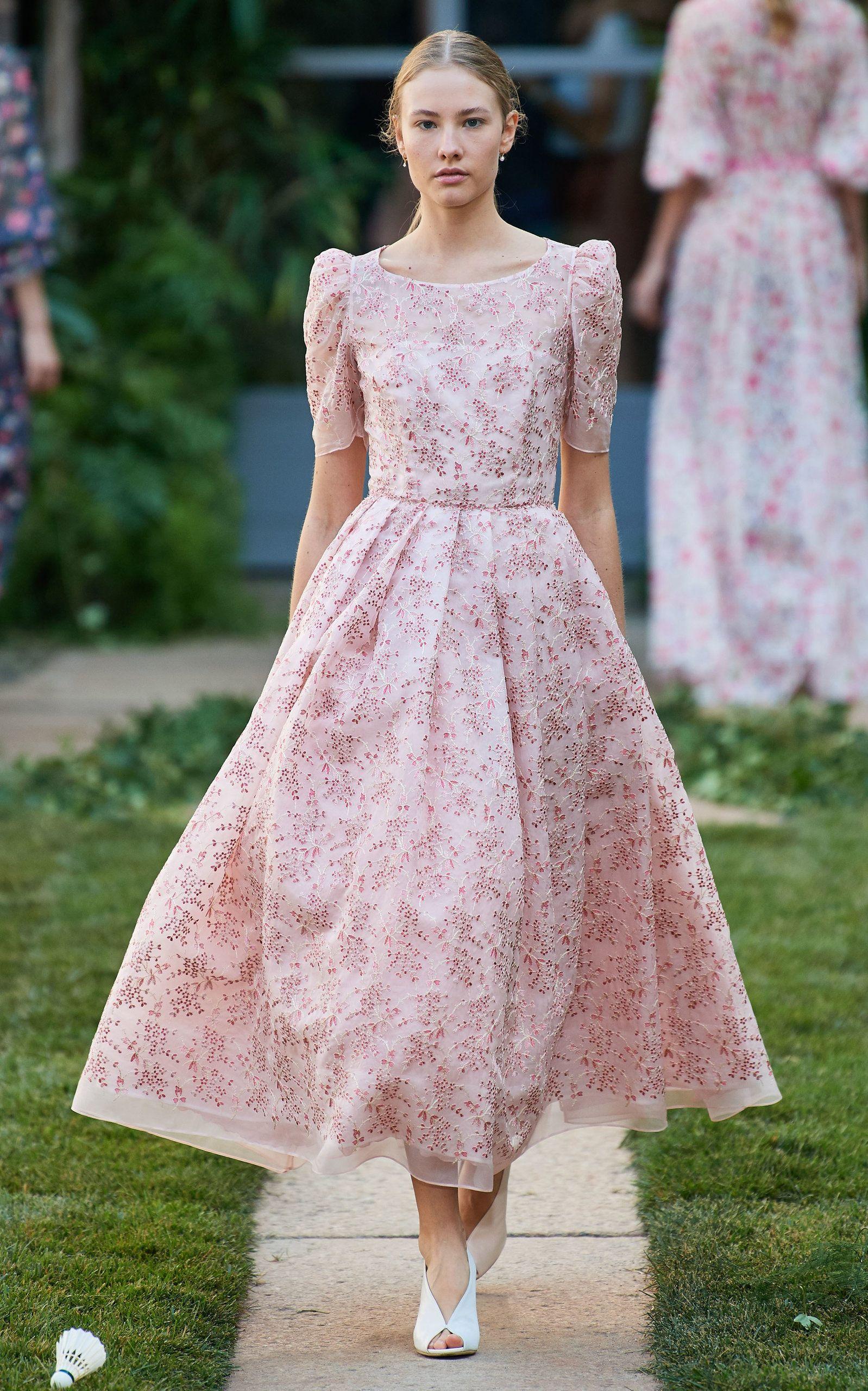 Luisa Beccaria Embroided Georgette Midi Dress