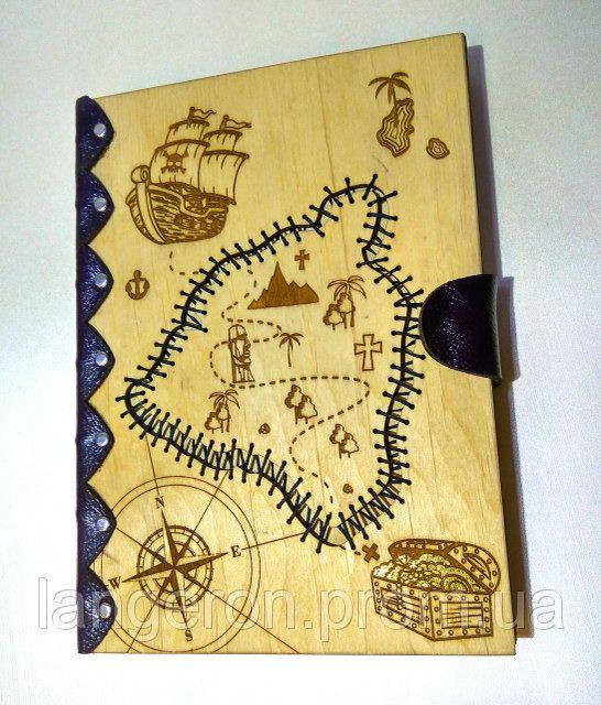Блокнот Карта пиратов с крафт бумагой отделка кожей на ...
