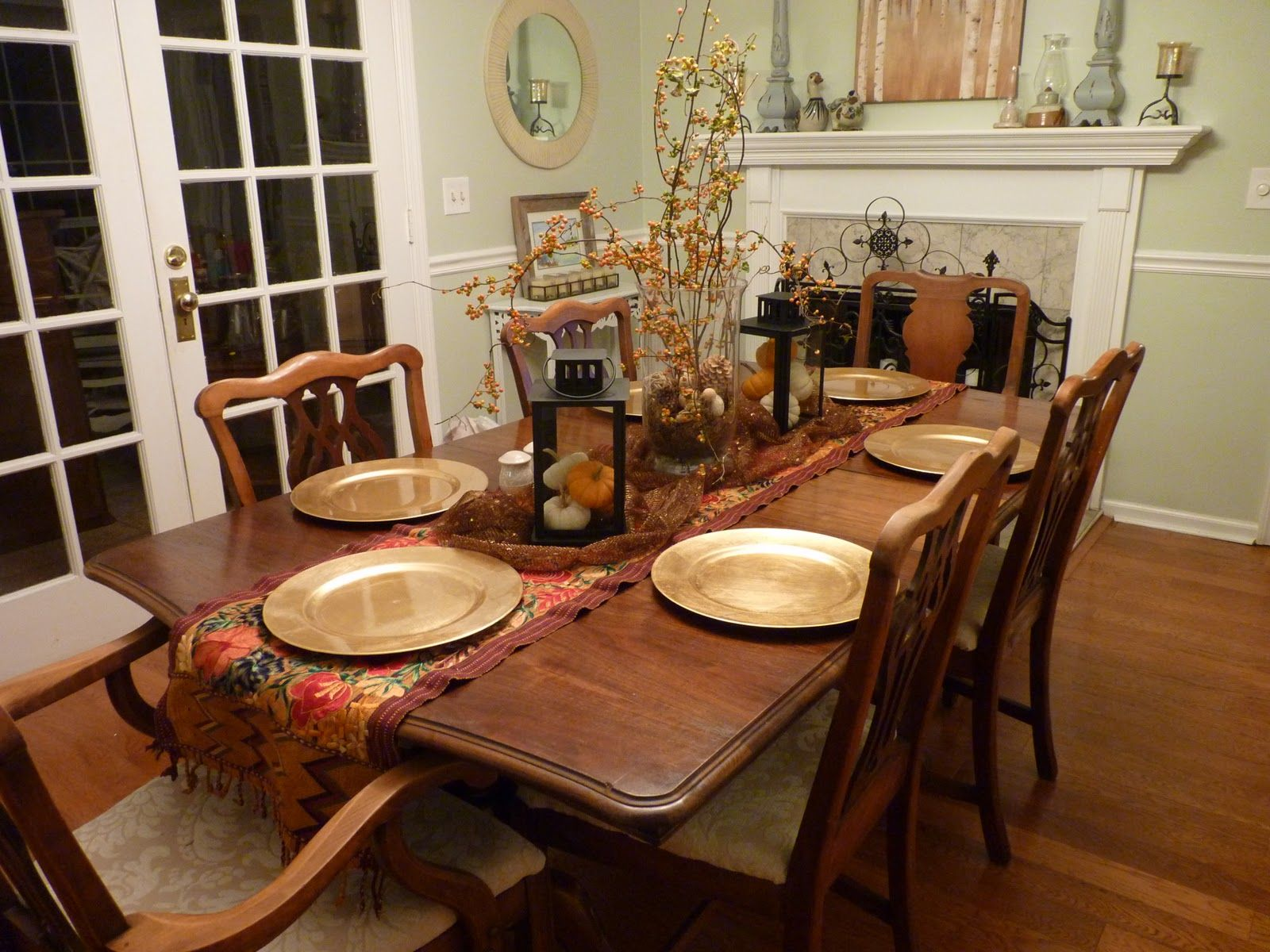 Classy Wooden Rustic Dining Table With 6 Chairs Feat Silver Plate And Floral As