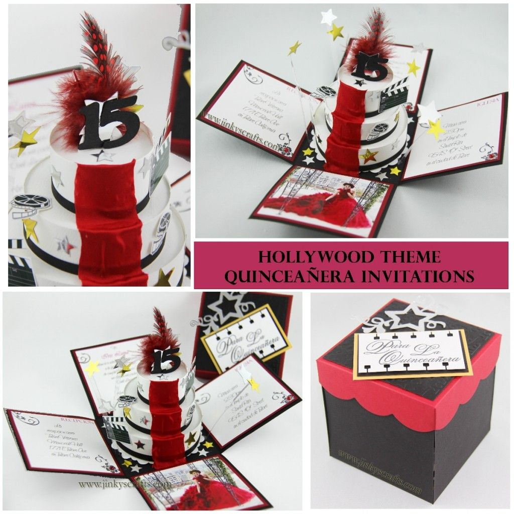 Hollywood Theme Exploding Box Invitations Tinas Quince