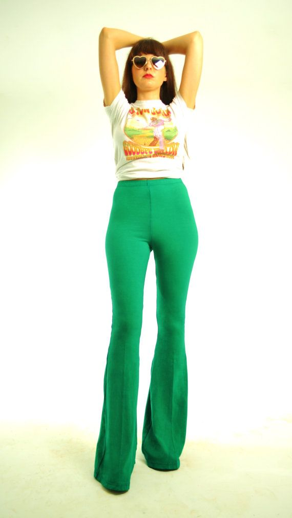 Bell Bottoms Extra Long High Waisted Green Bellbottoms by SewRed