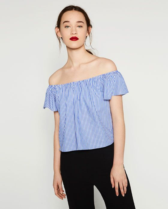 371fa7b6b1e86 Image 2 of OFF-THE-SHOULDER POPLIN TOP from Zara