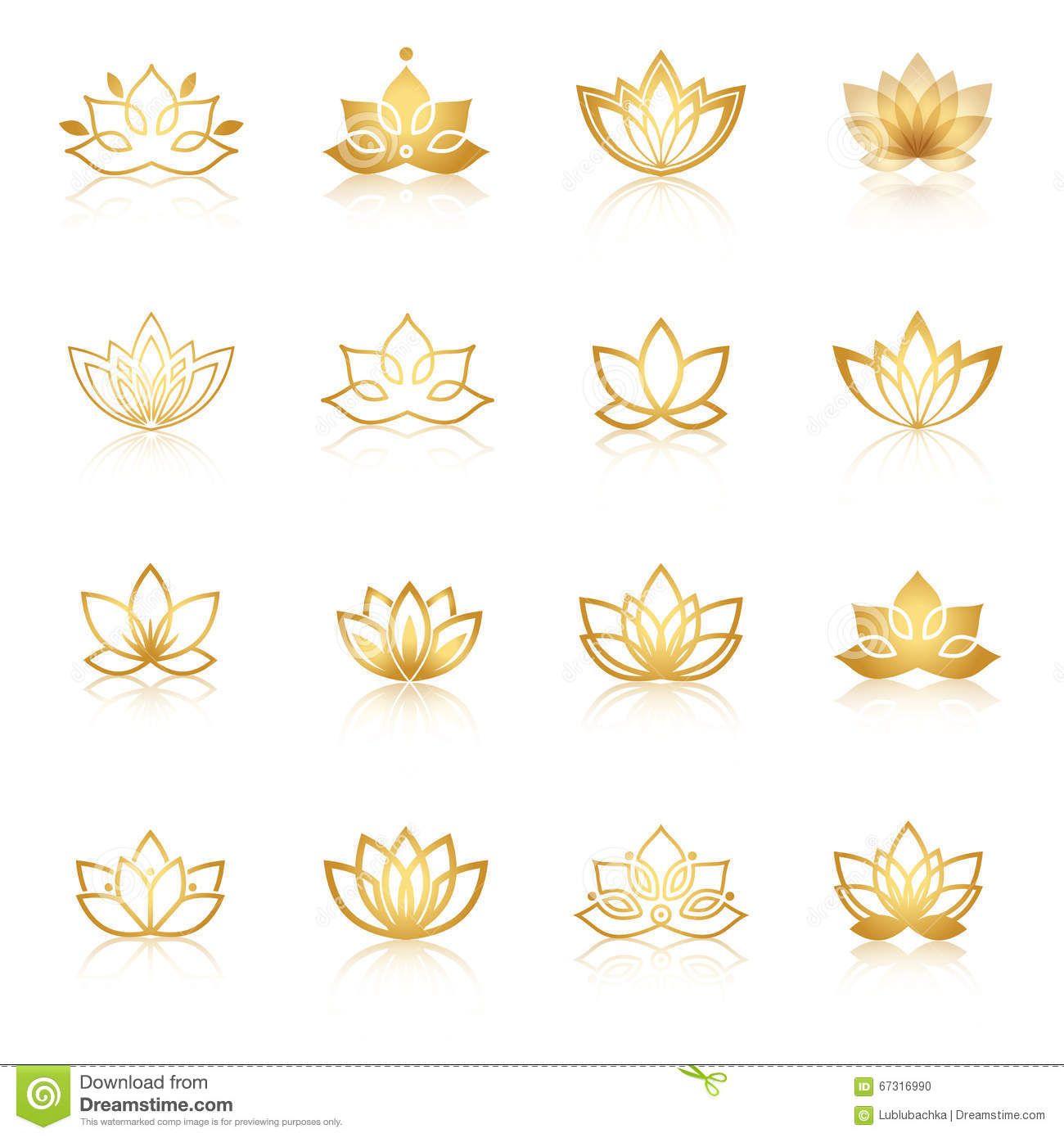 Golden Lotus Symbol Icons  Vector Floral Labels For Wellness Ind