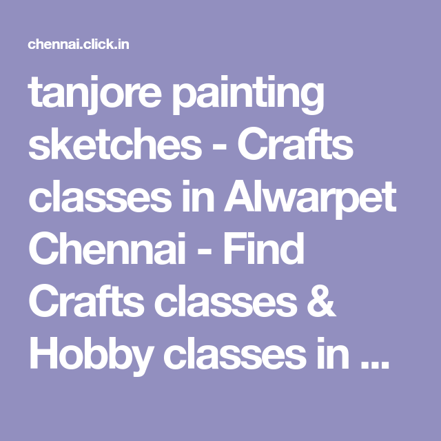 tanjore painting sketches - Crafts classes in Alwarpet