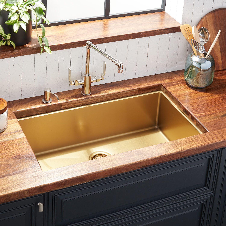 32 Atlas Stainless Steel Undermount Kitchen Sink Matte Gold