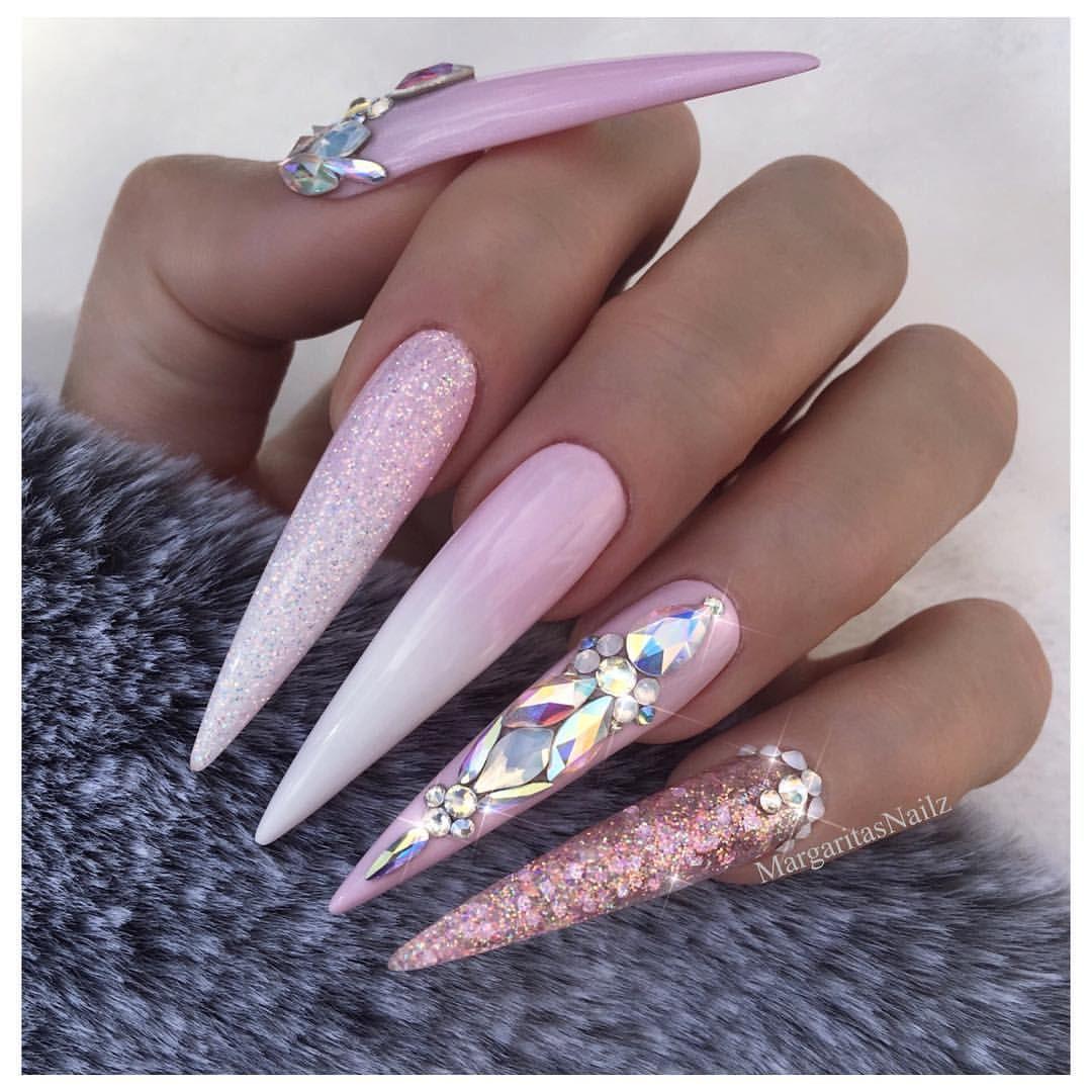 baby pink stilettos glitter nail art design swarovski