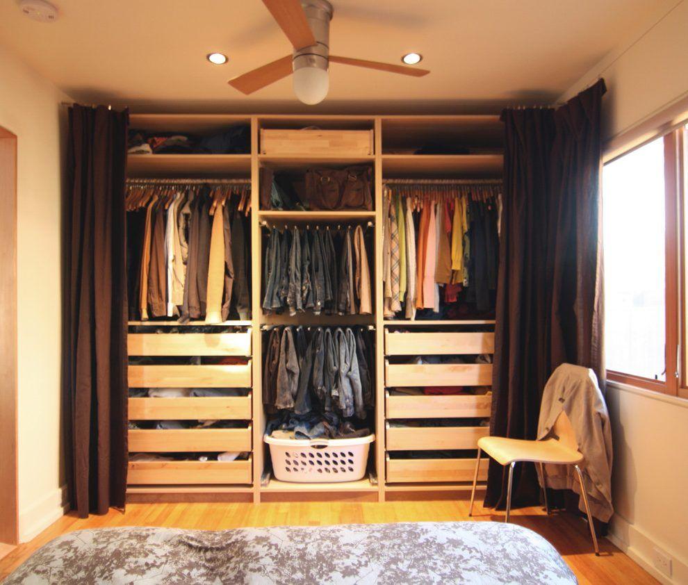 Image result for pax wardrobe curtain Closet bedroom