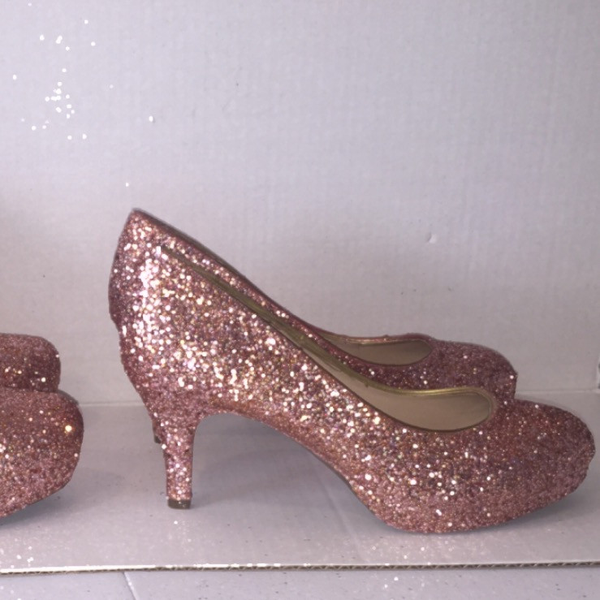 Sparkly Metallic Rose Gold Pink Glitter Low Heel Wedding Bride Sweet 16 Prom Shoes