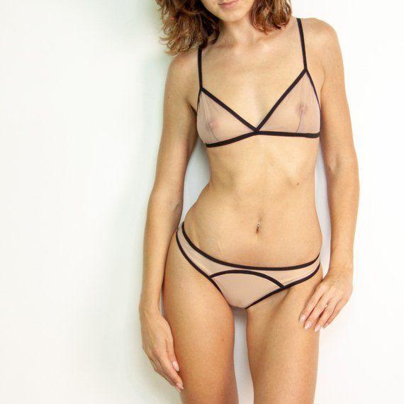 ee9ce363f3 Nude lingerie set with big smooth line Erotic bikini   sheer bra Honeymoon lingerie  See-through bra