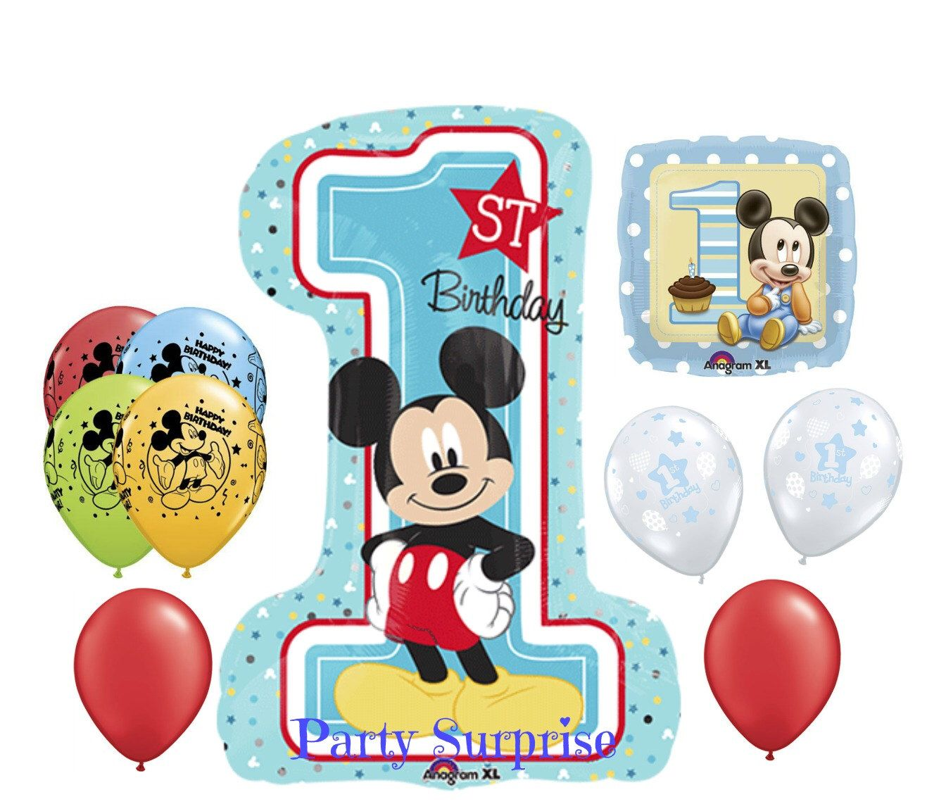 1st Birthday Boy Mickey Mouse Balloon Package Baby Boy 1st