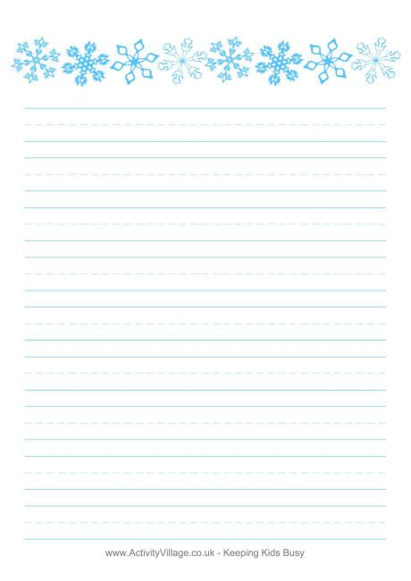 Snowflakes writing paper- print horizontal at 70 percent to use - free handwriting paper template