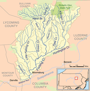 Map of the Fishing Creek watershed - Fishing Creek (North Branch Susquehanna River) - Wikipedia, the free encyclopedia
