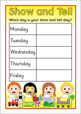 Show and tell weekly editable timetable posters (SB5321