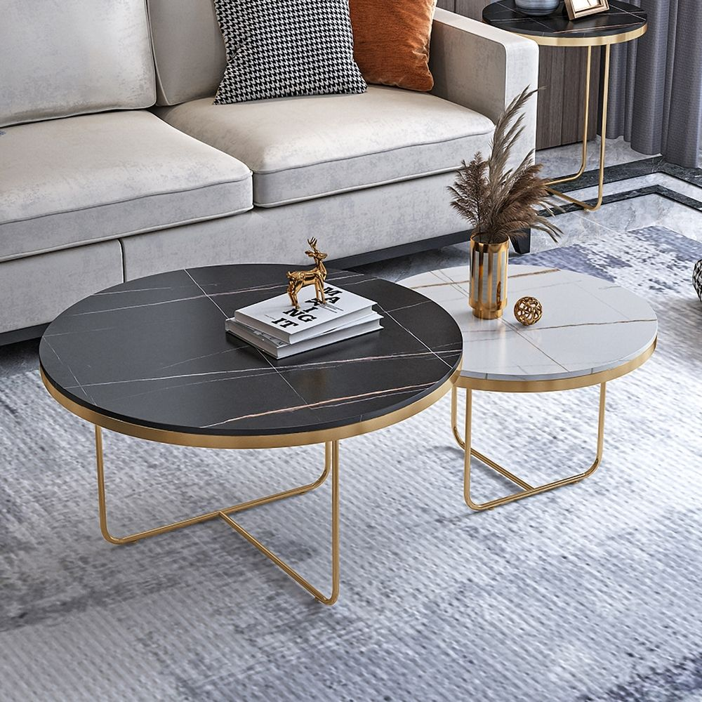 Modern Round Coffee Table Set With Stone 2 Piece Black White In 2021 Living Room Coffee Table Round Coffee Table Modern Coffee Table [ 1000 x 1000 Pixel ]