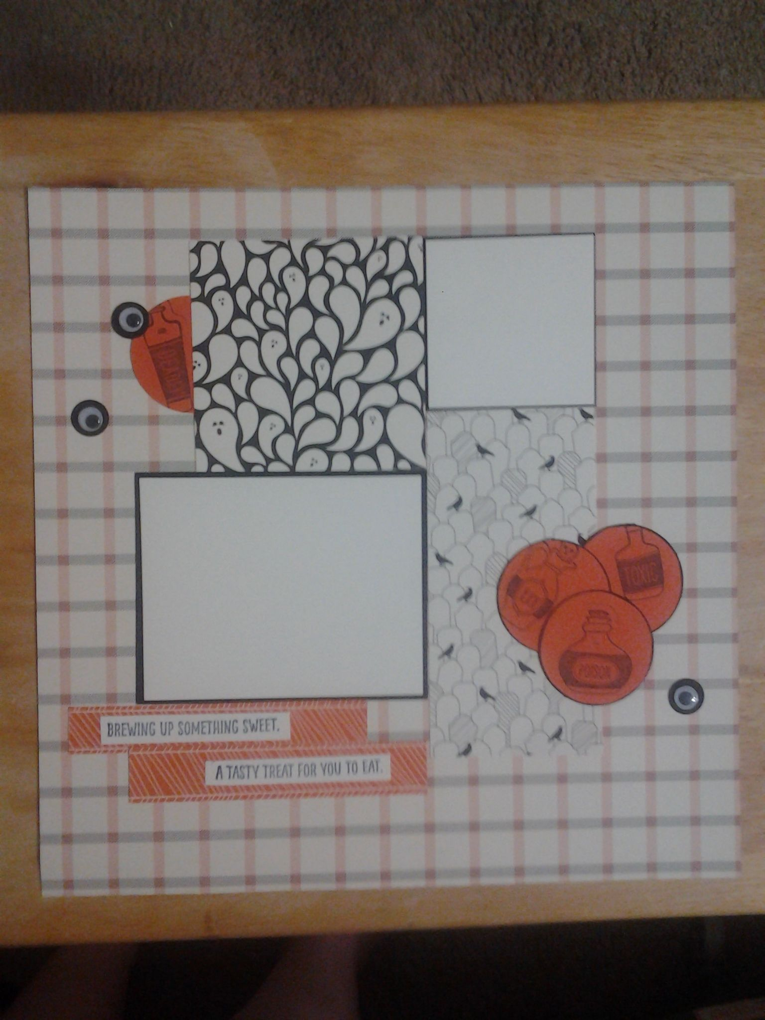"""Now for my second scrapbook page using the Happy Haunting Designer Series Paper. On this page I used the same black and orange grid paper. I have a 4"""" x 4"""" ghostly piece of paper and a 3"""" x 6"""" tomb..."""