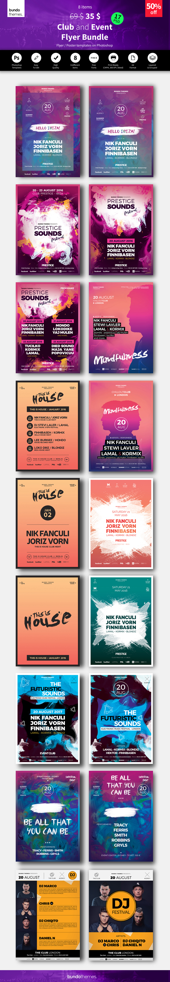 Club and Event Flyer Bundle – 17 PSD – These flyer templates are great for club, bar, lounge, festival, party, concert, dj, event, workshop or other advertising purposes. Trendy design, beautiful colors, unique and easy to edit.