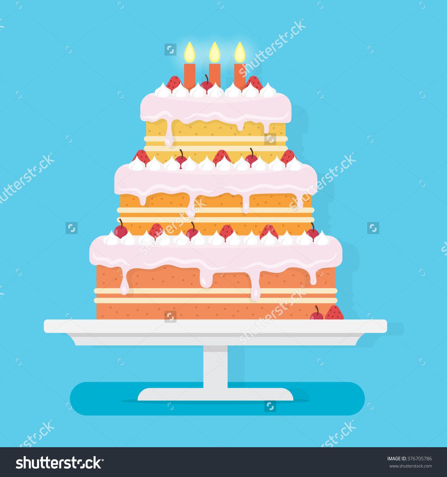 Happy Birthday Cake Party And Celebration Design Elements Flat