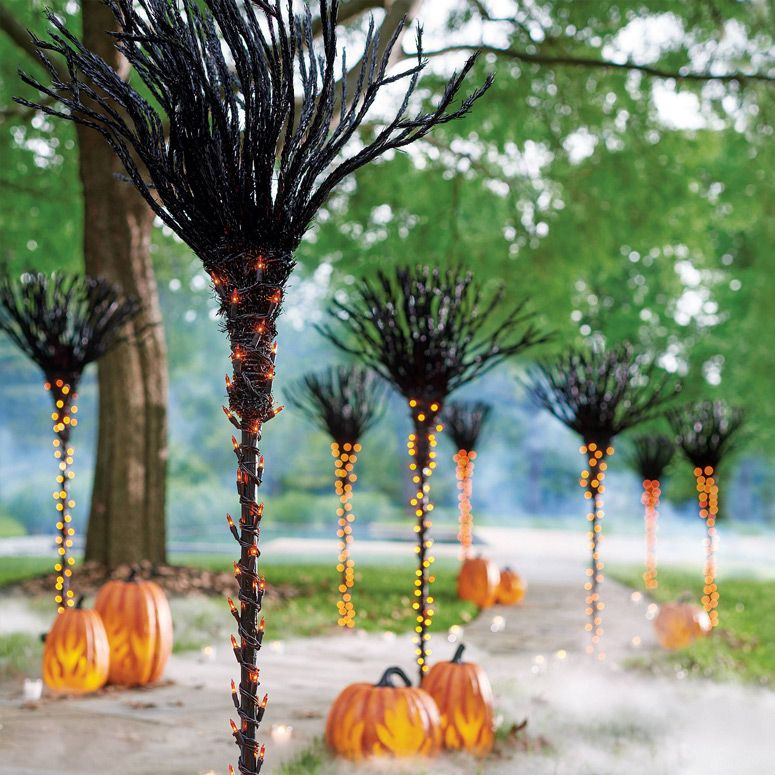 Lighted Broomstick Pathway Markers Halloween Outdoor Decorations Halloween Door Decorations Halloween Front Door Decorations