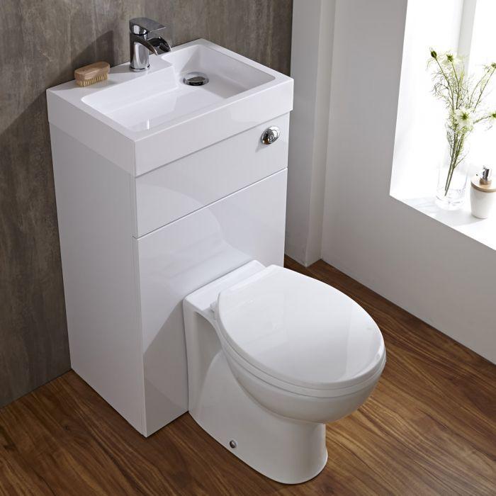El elegante conjunto con lavamanos y WC contemporneo para