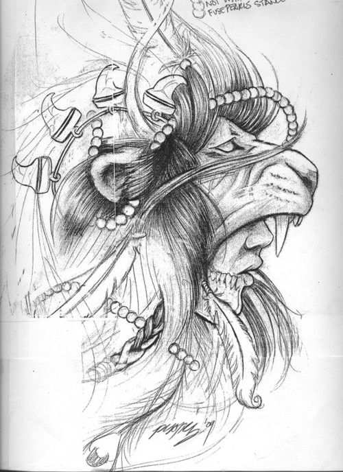 Bear headdress drawing - photo#45