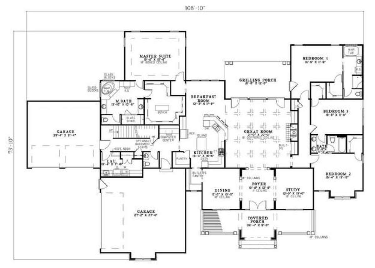 House Plan 110 00698 Northwest Plan 3 602 Square Feet 4 Bedrooms 3 5 Bathrooms In 2020 Craftsman Style House Plans Ranch Style House Plans House Plans