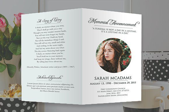 Funeral Program Photoshop Template By Shalexdesigns On