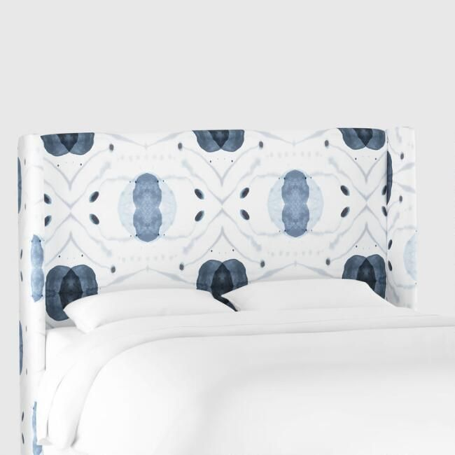 white and blue atomic robertson upholstered headboard v1 for rh pinterest com