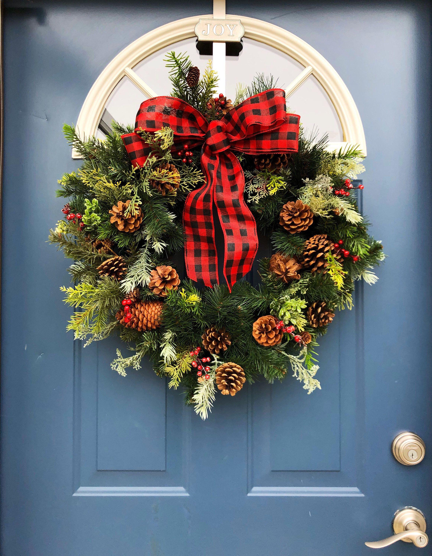 """24"""" Farmhouse Wreath, Holiday, Evergreen Wreath, Christmas"""