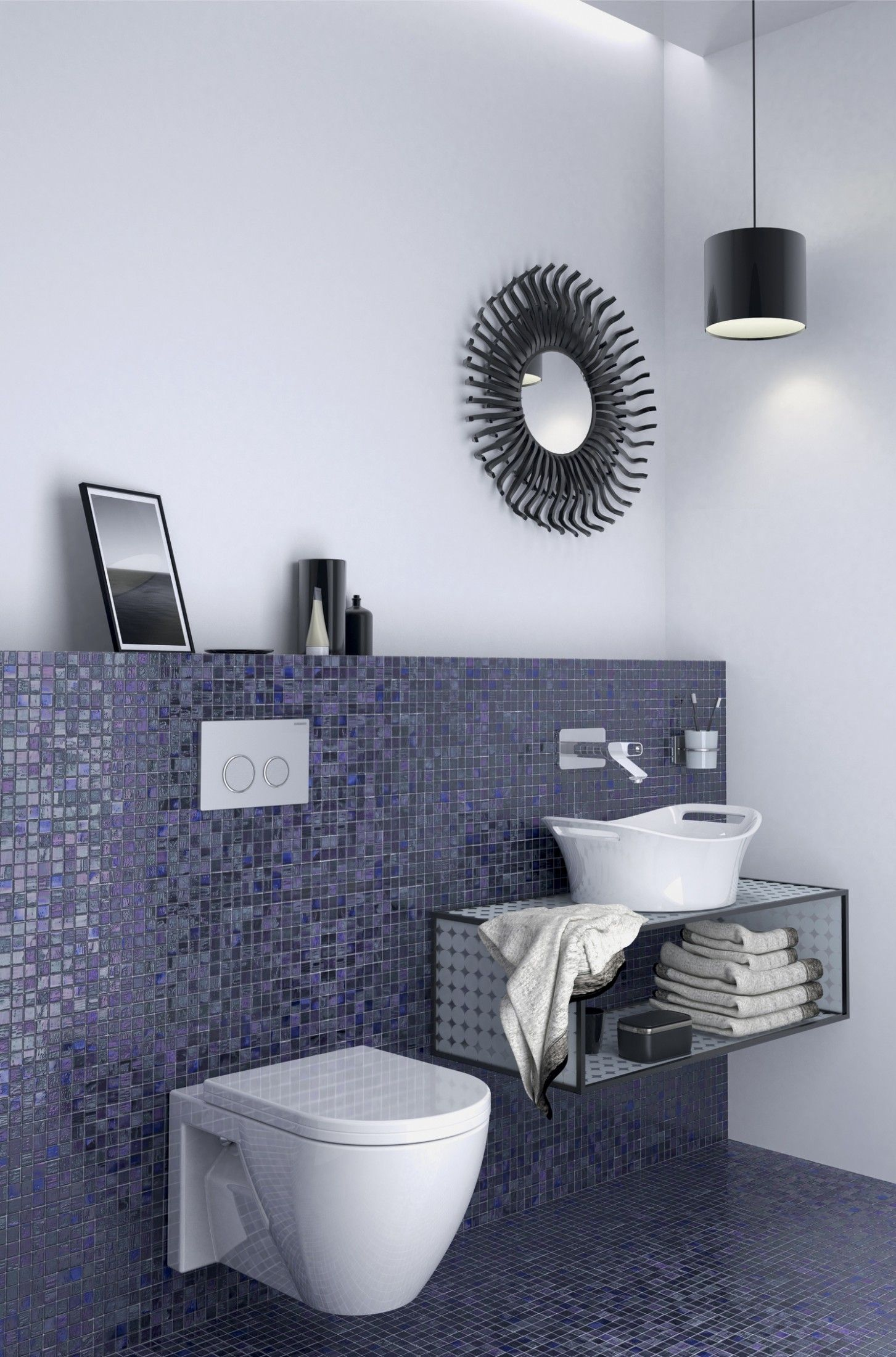 Contemporary Bathroom Design With Amazing In Wall Toilet