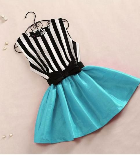 Black and white striped dress with teal skirt
