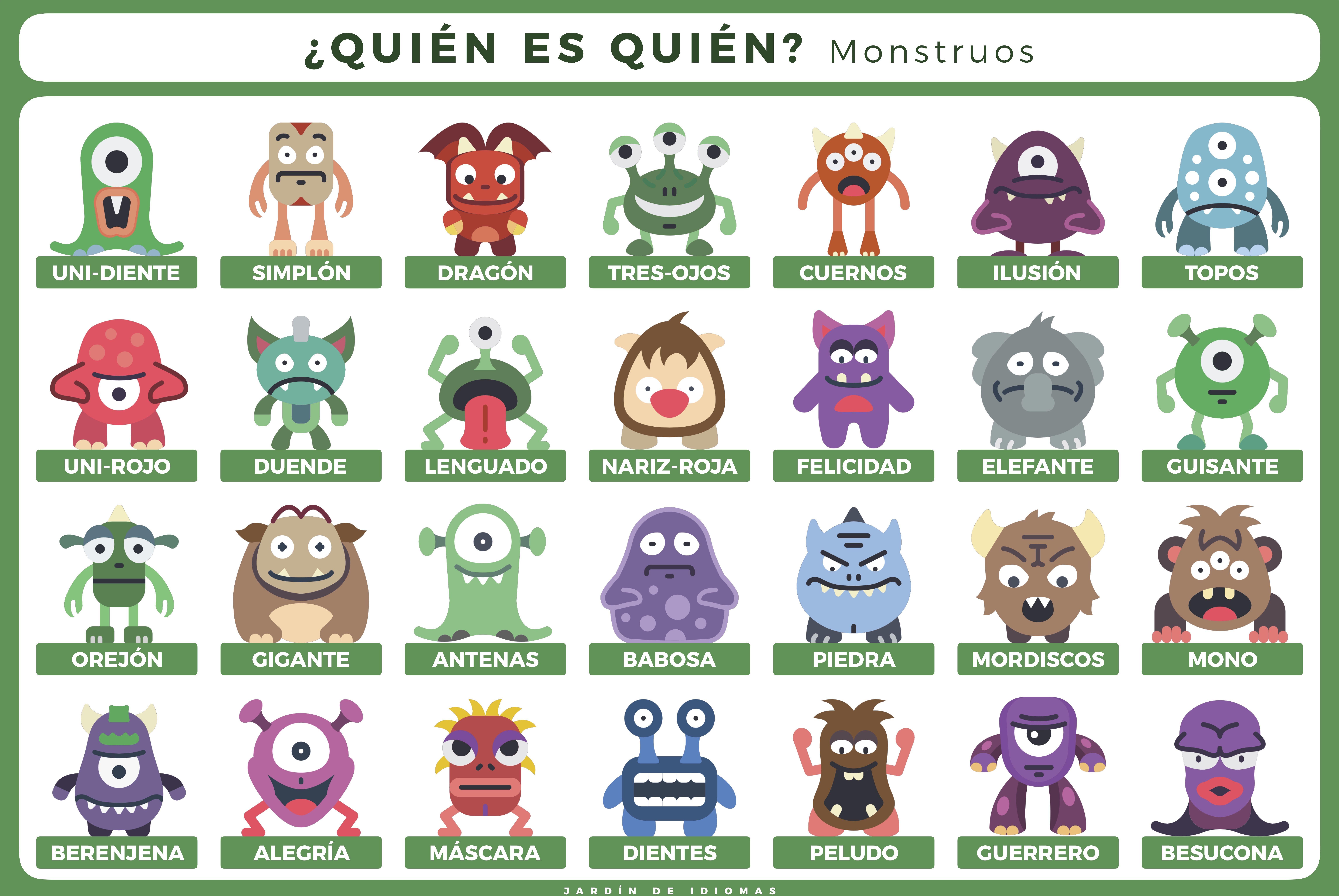 Quién Es Quién Monstruos Ele Juegos De Monstruos Juego Quien Soy Monstruos