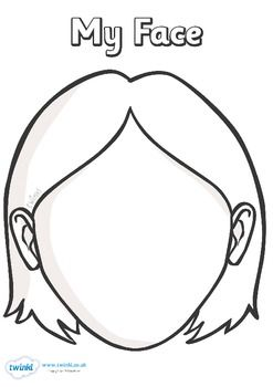 blank face templates with face parts teaching cooking ideas