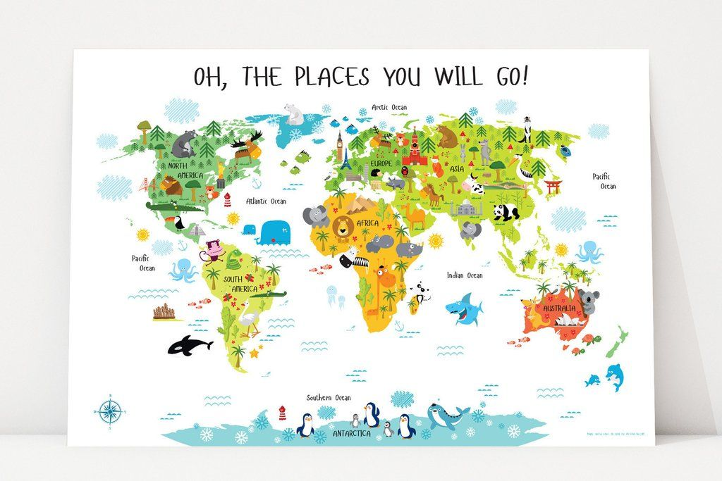 Children's World Map Poster for Nursery or Playroom | Geography