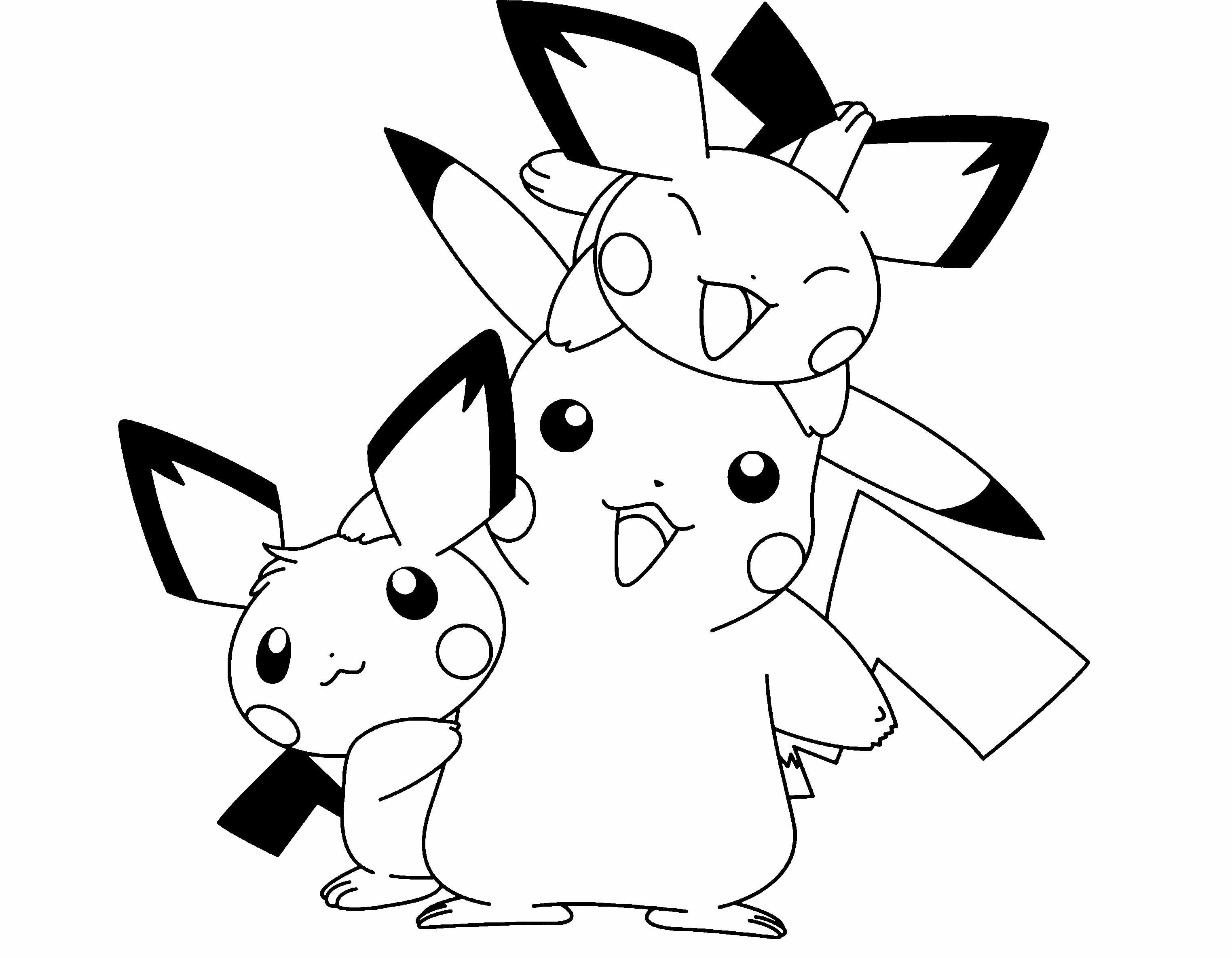 Pikachu coloring pages free printable - Pokemon Pikachu And Two Friends Are Cute Coloring Page