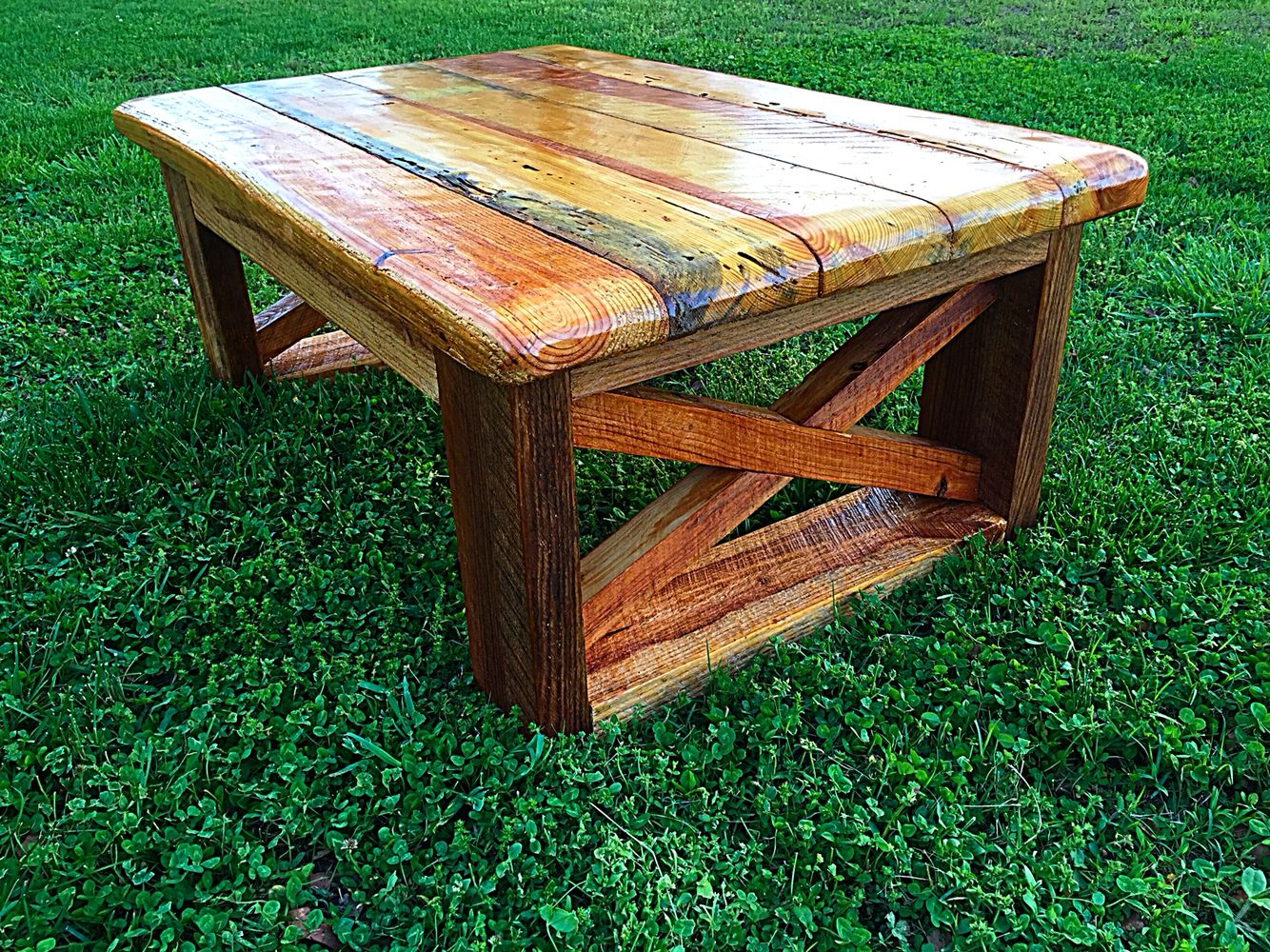 Rustic wormhole pine coffee table by Vintage Southern Creations