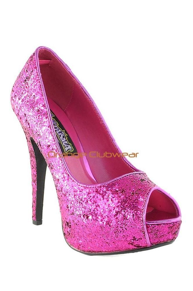 PLEASER Hot Pink Glitter Peep Toe Stiletto High Heel Dressy Party Pumps  Shoes 585793d0234e