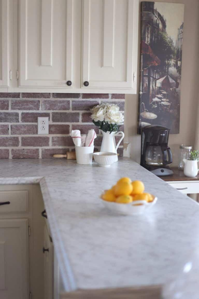 French Country Kitchen Faux Marble Countertops Brick