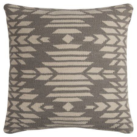 Rizzy Home T11578 20 inch x 20 inch Throw Pillow with Hidden Zipper, Gray