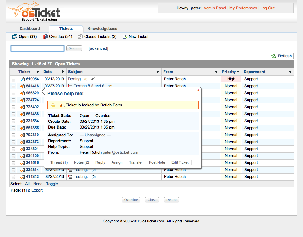 osTicket Features osTicket Help desk, Software, Open