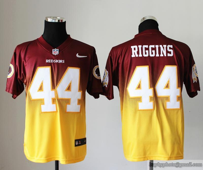 Nike NFL Men Washington Redskins #44 John Riggins Red/Yellow Fadeaway Elite  Stitched Jersey