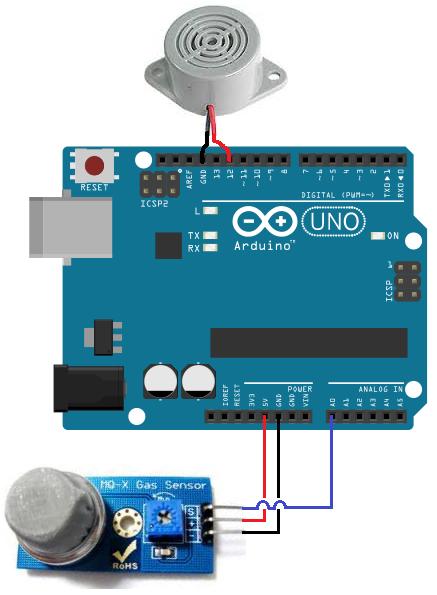 Mq 2 Smoke Sensor Circuit Built With An Arduino Fingerprint Lock Arduino Arduino Projects
