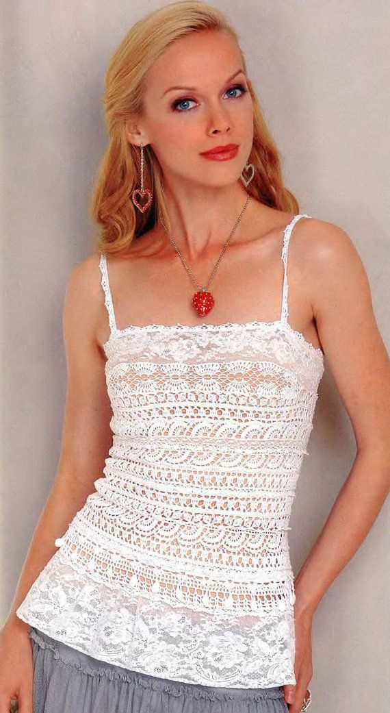 Free Online Crochet Top Patterns : Crochet top with lace parts, crochet top PATTERN only ...