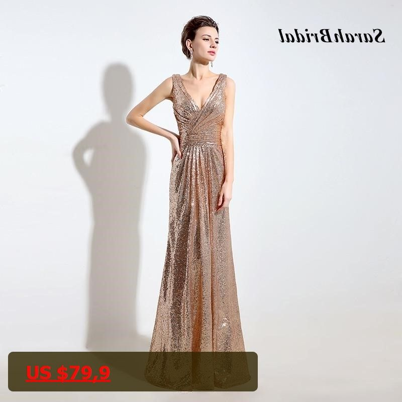 Cheap Rose Gold Sequin Bridesmaid Dresses Long 2017 Deep V-Neck Sparkly  Gala Dress V 51554b2fb5ea