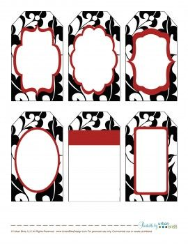 12 Days Of Printable Giveaways Day 2 Black Red Floral Gift Tags