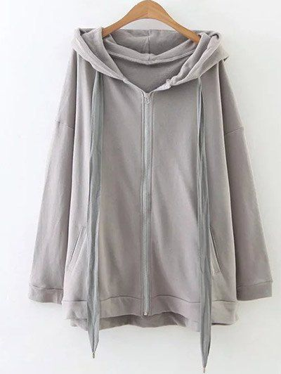 SHARE & Get it FREE | Slouchy Zip Up Oversized Hoodie - GrayFor Fashion Lovers only:80,000+ Items • New Arrivals Daily Join Zaful: Get YOUR $50 NOW!